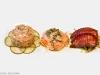 Salmon Tartar, Salmon Ceviche , Teriyaki Salmon Sashimi