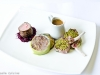 Trio of Lamb (Cutlet, Fillet & Confit) served with Crushed Potato, Braised Red Cabbage, Wild Mushroom and a Rosemary Jus