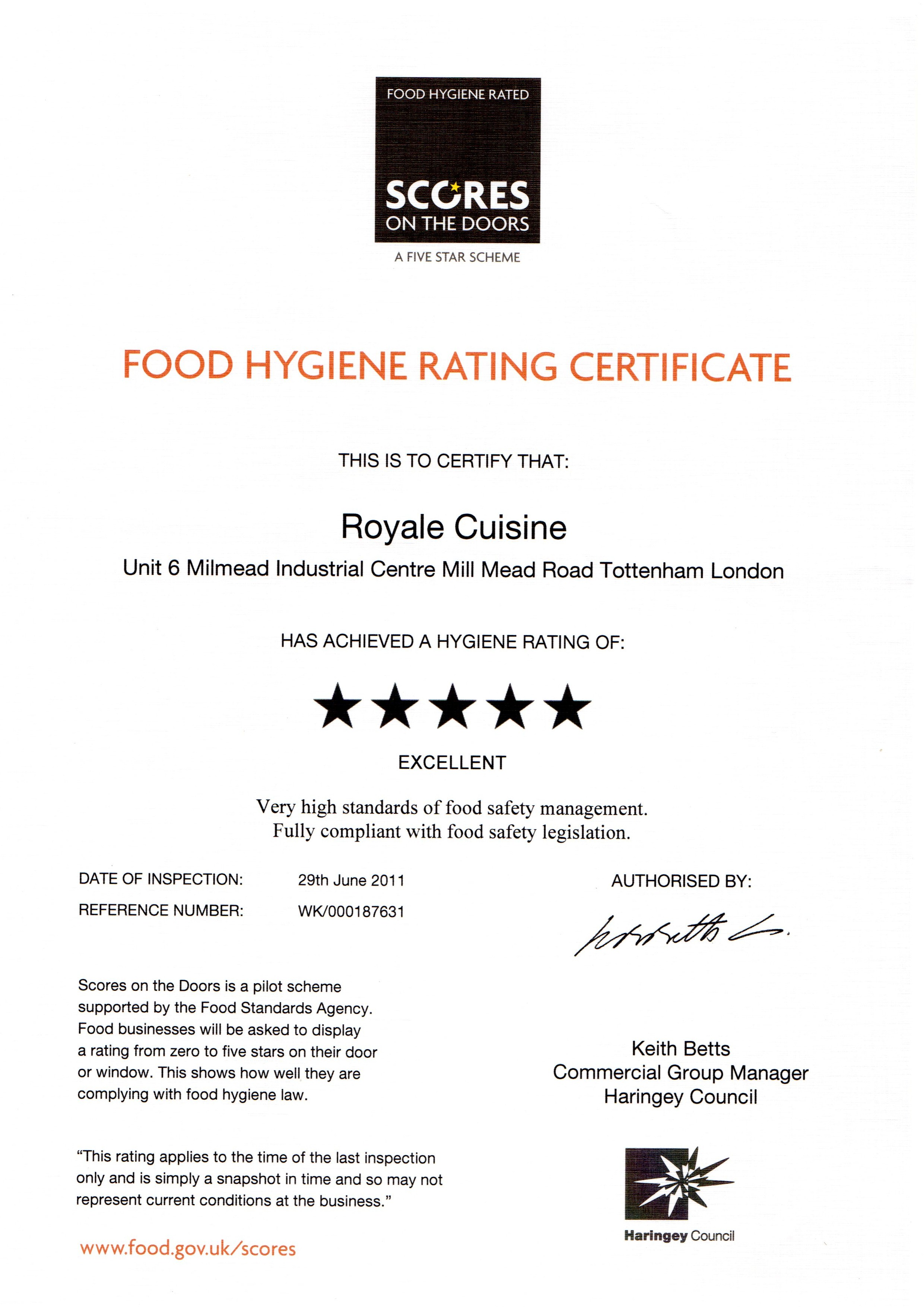 Food Hygeine Rating Scores on the Doors Certificate ...  sc 1 st  Royale Cuisine & Royale Cuisine | Accreditation